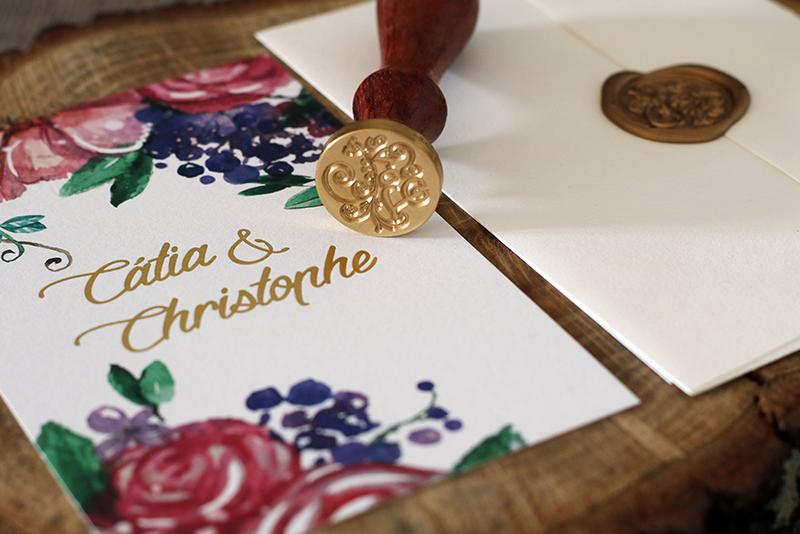 convite casamento rustico com tons outonais