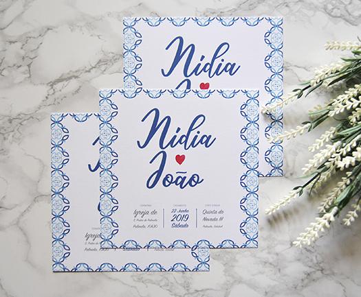 convite casamento azuleijo