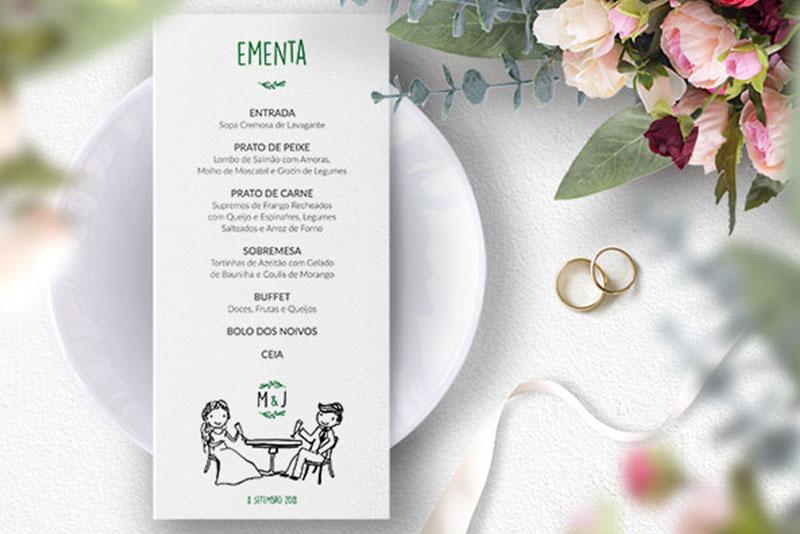 ementa para casamento rústico com desenho personalizado dos noivos