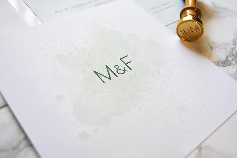 convite de casamento personalizado com aguarela e lacre