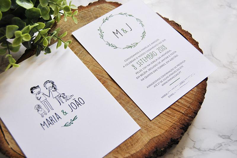 convite de casamento rústico com desenho personalizado