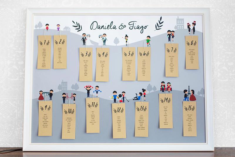 quadro de seating plan personalizado para casamento com história dos noivos
