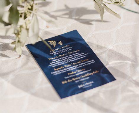 menu personalizado de casamento