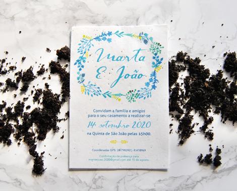 convite de casamento em papel de sementes plantavel