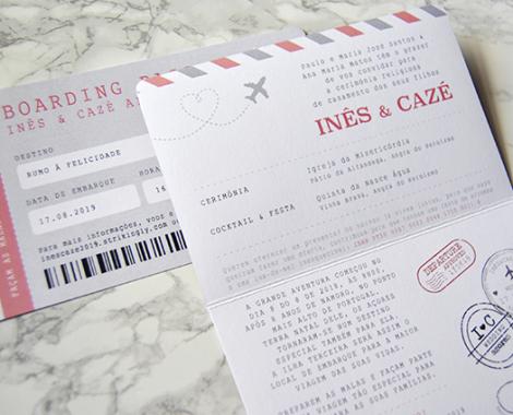 convite casamento personalizado com passaporte e bilhete
